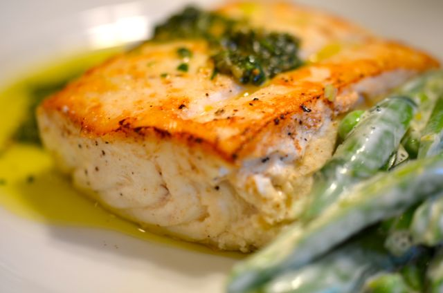 Seared and Poached Halibut with Salsa Verde and Sugar-Snap Peas ...