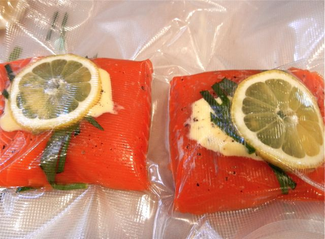King salmon with tarragon chive butter sous vide or baked for Temperature to cook fish in oven