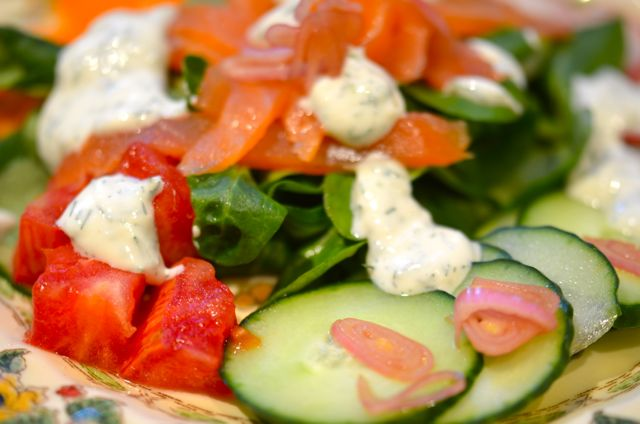 Smoked Salmon Salad With Yogurt-Dill Dressing « Putney Farm