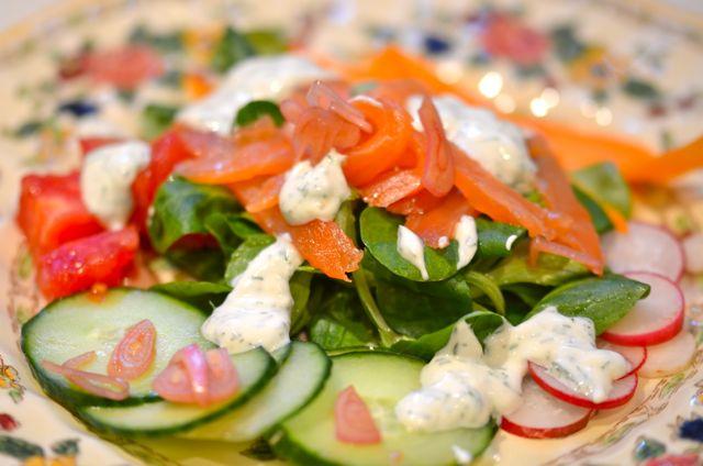 Smoked Salmon Salad With Yogurt-Dill Dressing « Putney Farm