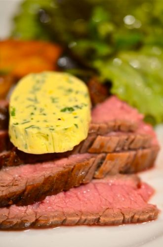 Pan Seared Flank Steak With Herb Butter.