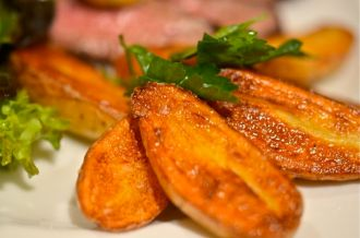 Pan Fried Fingerling Potatoes With Vanilla Salt.