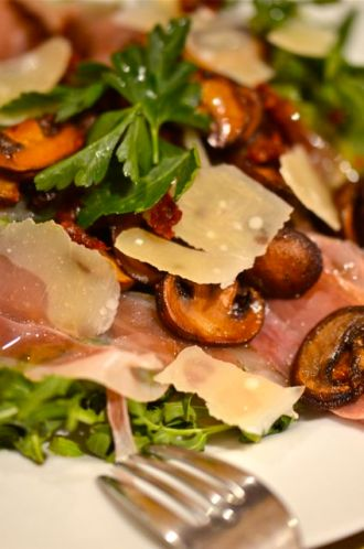 Warm Mushroom and Arugula Salad.
