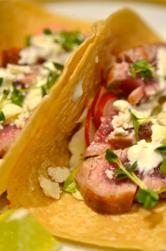 Seared Ahi Tacos With Wasabi-Lime Crema