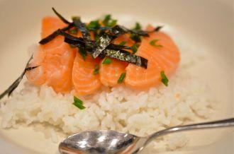 Sashimi on Hot Rice With Broth.