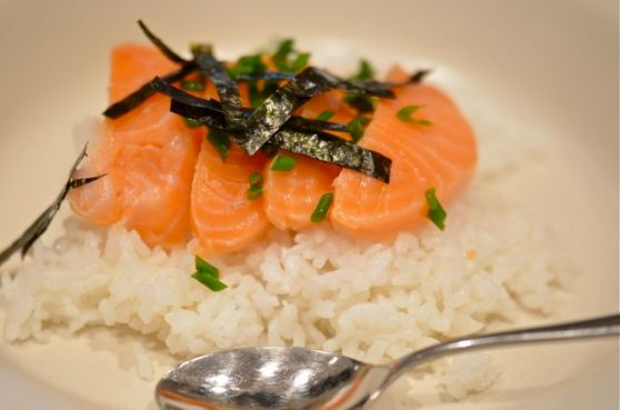 Sashimi on Hot Rice With Broth.