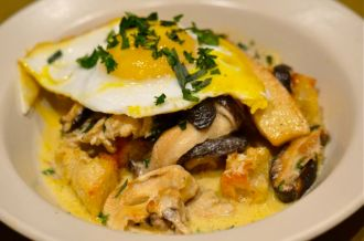Mushroom Ragout with Fried Duck Eggs.